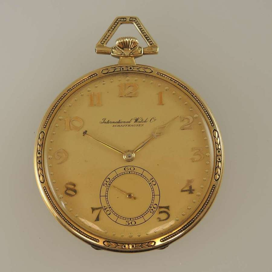14K Gold IWC International Watch Co pocket watch c1928