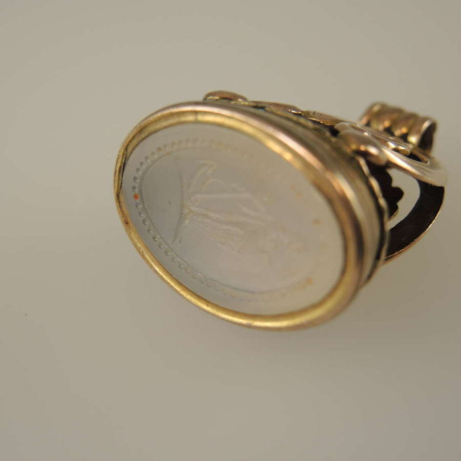 Large 15K Gold Georgian Seal with Faith and Hope Intaglio c1830