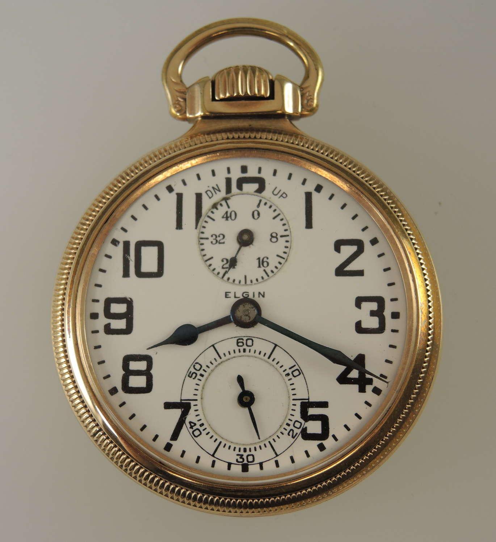 16 size 21 Jewel Elgin B W Raymond Wind Indicator pocket watch c1926