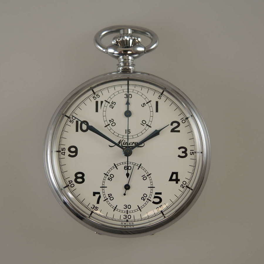 Chronograph pocket watch by Minerva in unused condition c1940