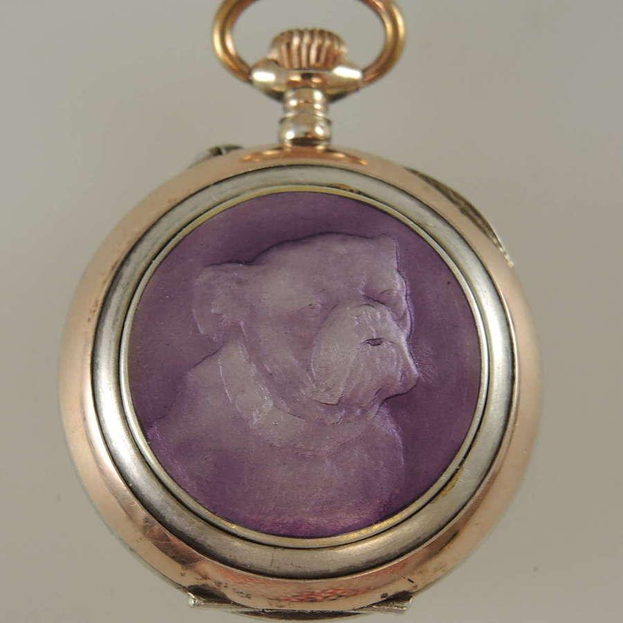 Enamel and silver fob watch with a BULLDOG c1890