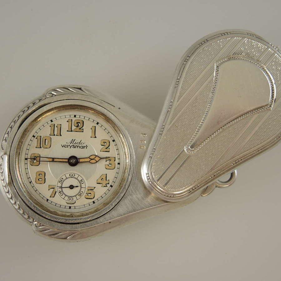 Unusual Fan shaped silver pocket watch c1920