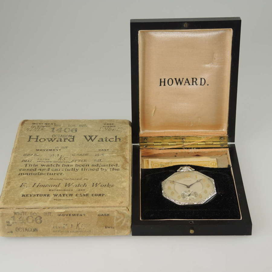 Unused 14K white gold Howard pocket watch with original boxes c1923