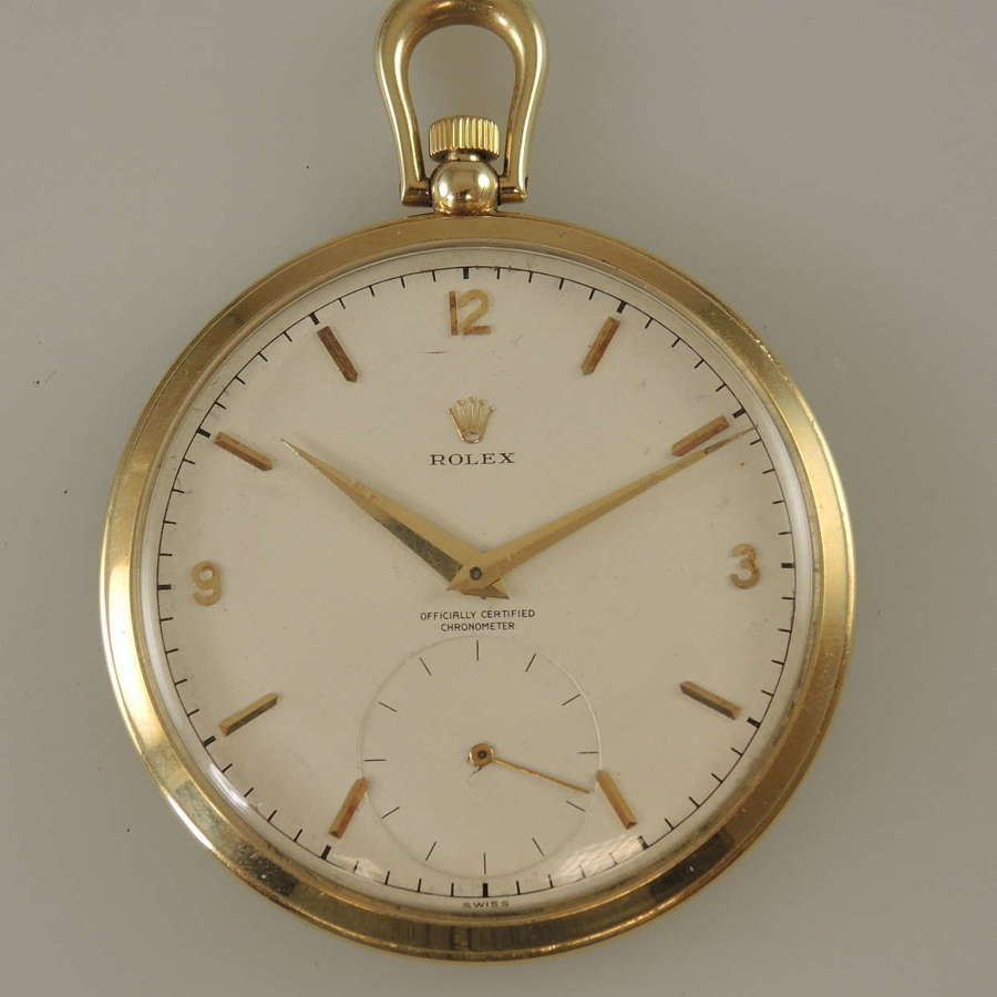 14K gold Rolex pocket watch. Officially Certified Chronometer c1989