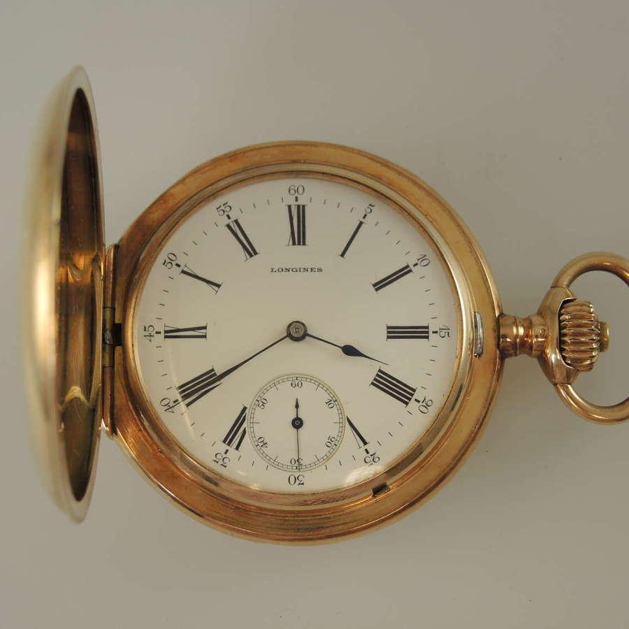 Large 14K gold Longines full hunter pocket watch c1900
