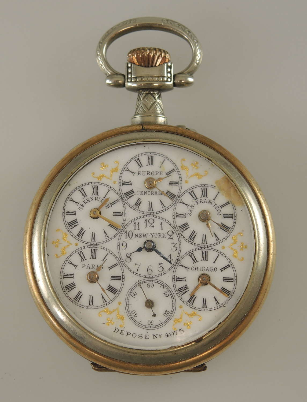 World time pocket watch c1890
