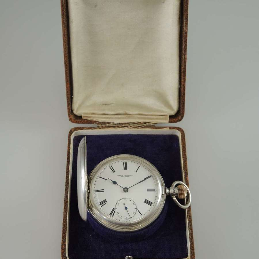 English silver full hunter pocket watch with box c1903