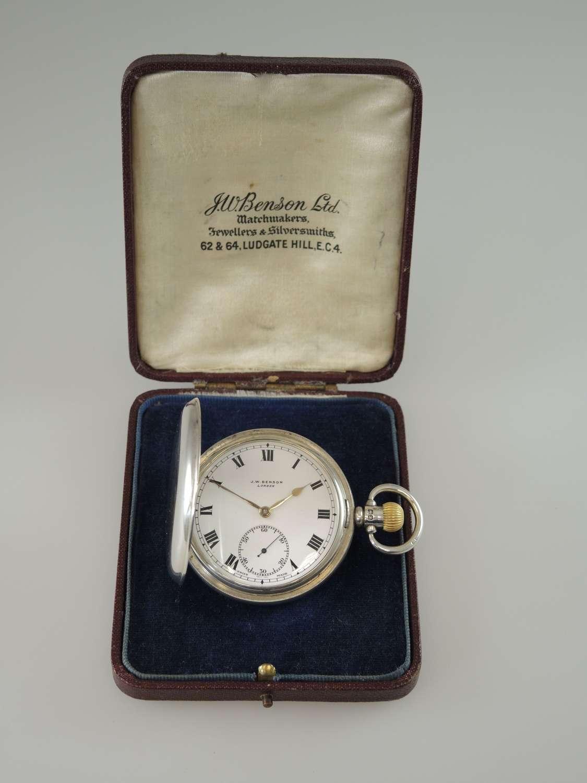 English silver J W Benson full hunter pocket watch with box c1939