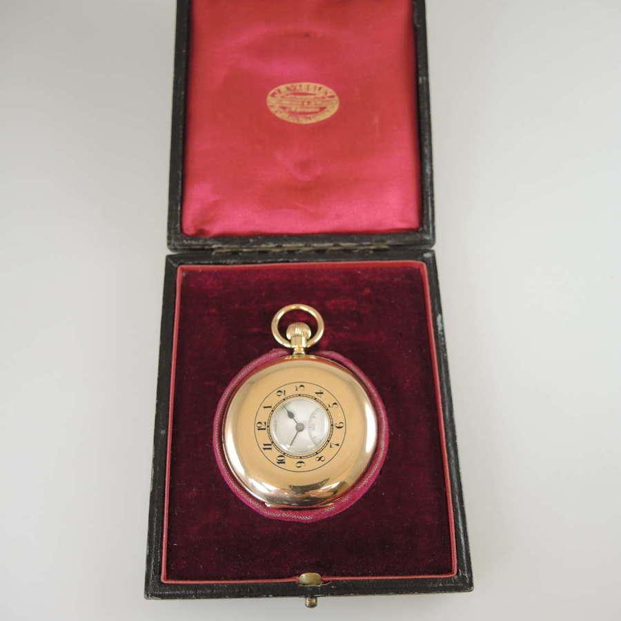 Top quality 18K J W Benson half hunter pocket watch. With box c1922