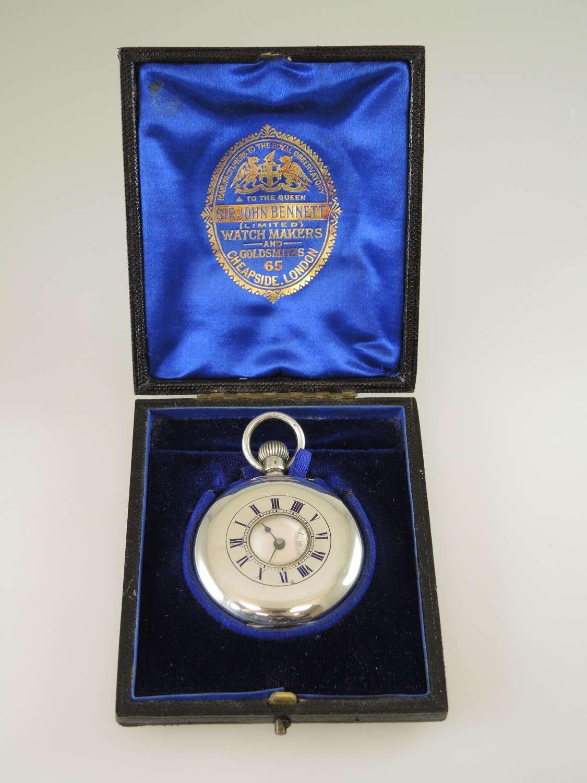 Silver half hunter pocket watch by IWC, sold by Sir John Bennett c1895