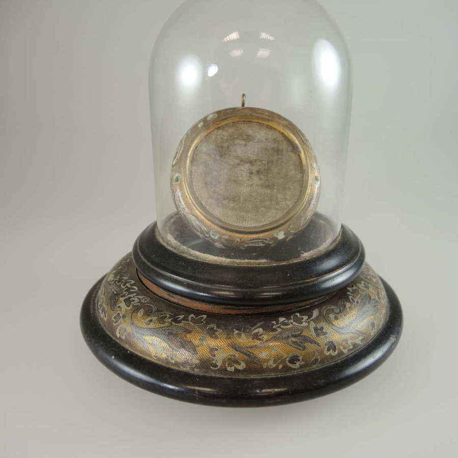Unusual Painted metal Glass domed watch stand c1890