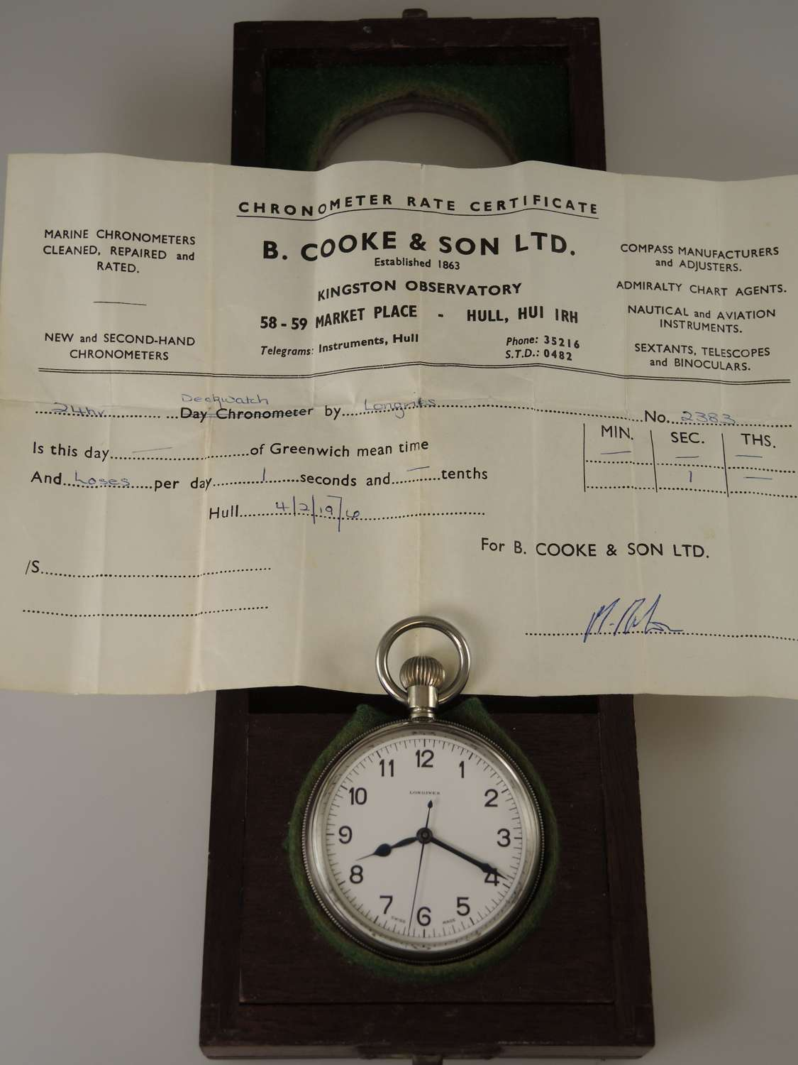 Longines Military HS 3 Deck watch with chronometer rate cert c1940