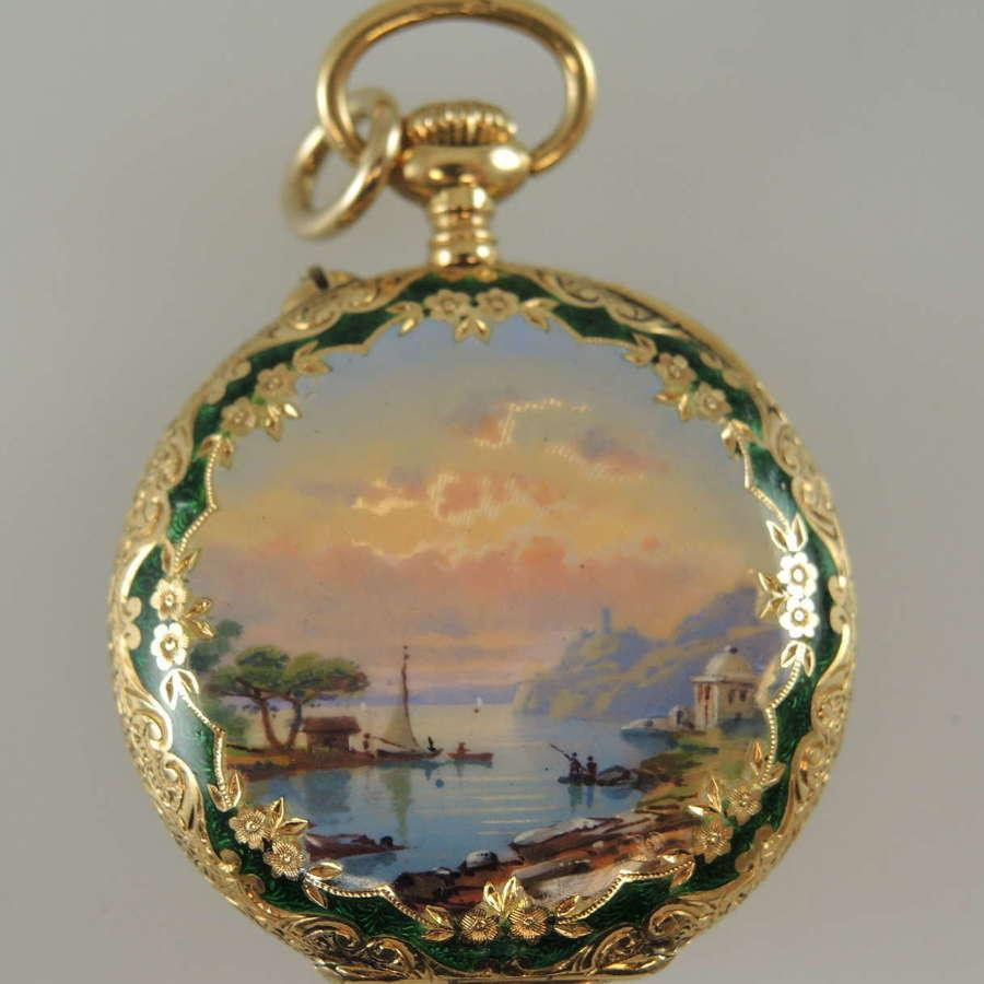 18K gold and enamel pocket watch c1890