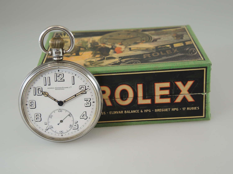 English silver vintage Rolex pocket watch c1928