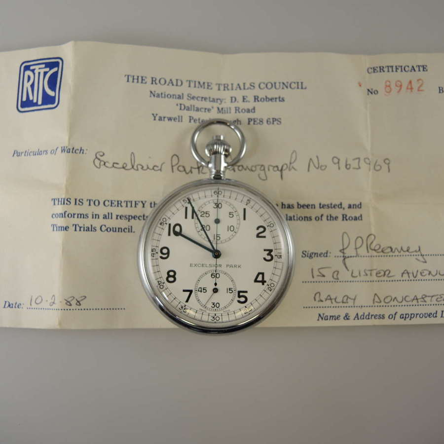 Swiss chronograph pocket watch with Time Trials Certificate c1950