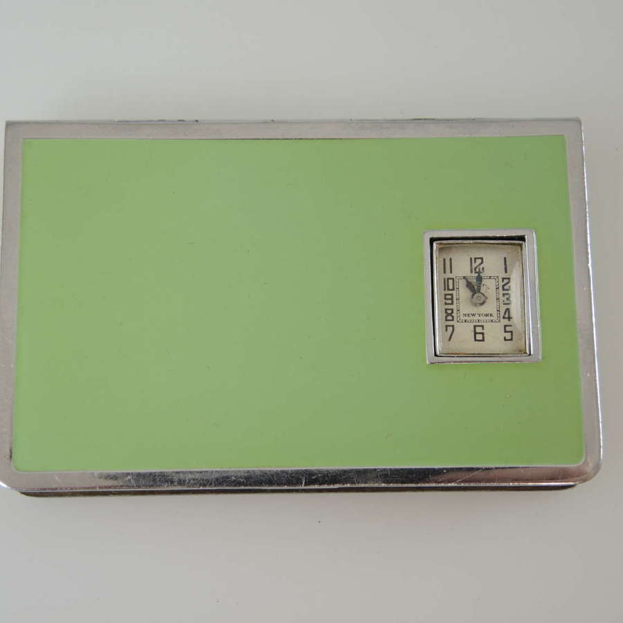 Art Deco green enamel and chrome Watch compact c1930