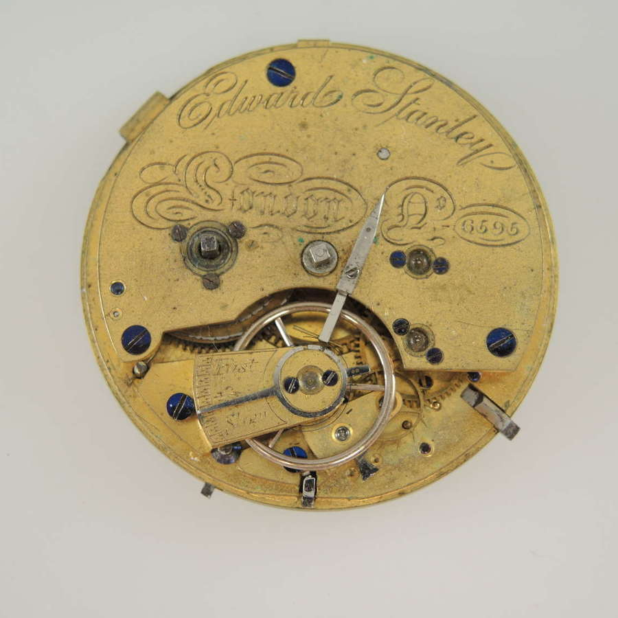 English fusee lever movement by Stanley c1850