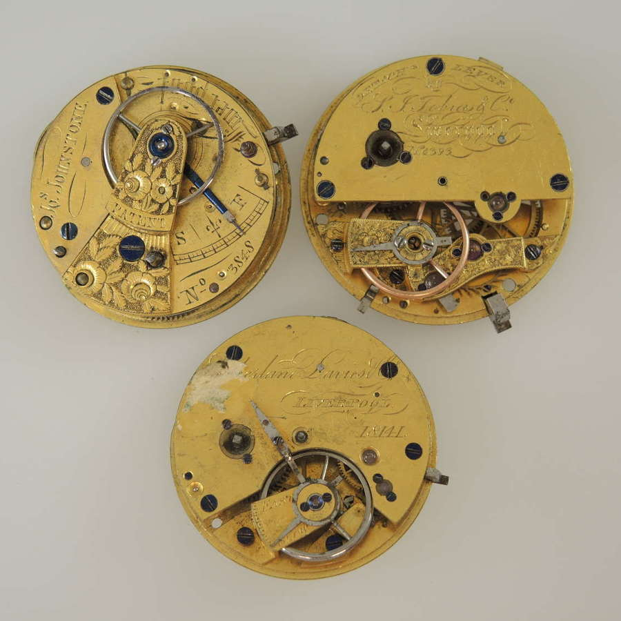 Lot of 3 interesting Liverpool fusee movements c1835-50