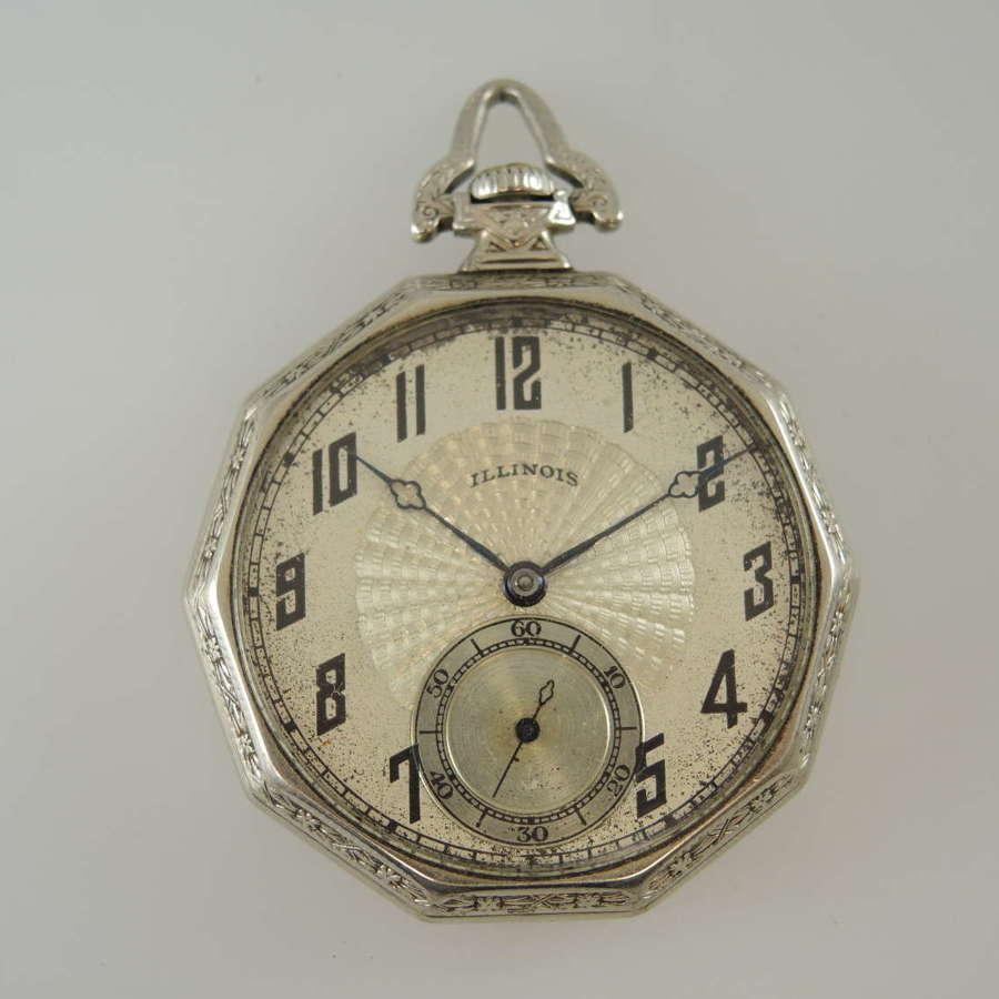 14K White gold filled 10 sided case Illinois pocket watch c1923