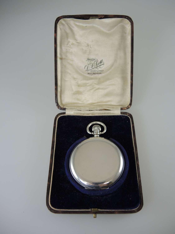 English silver full hunter pocket watch c1928