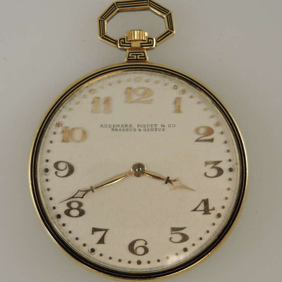 18K gold and enamel Audemars, Piguet & Co pocket watch c1918