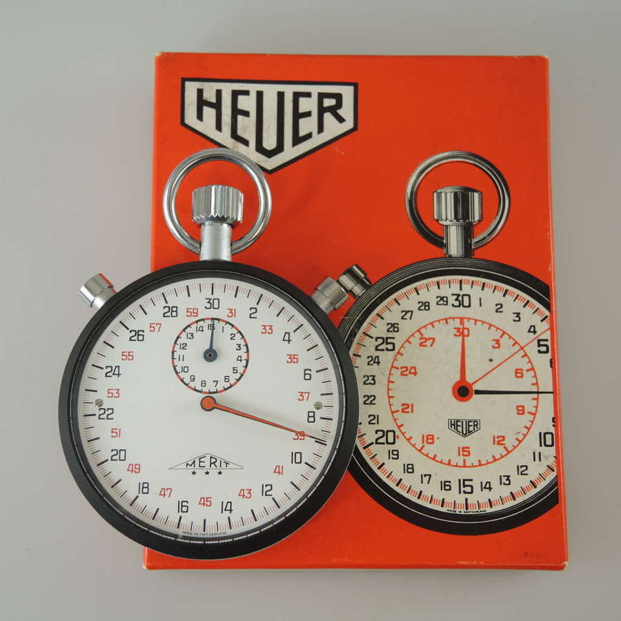 Heuer Split Seconds stop watch with box c1970