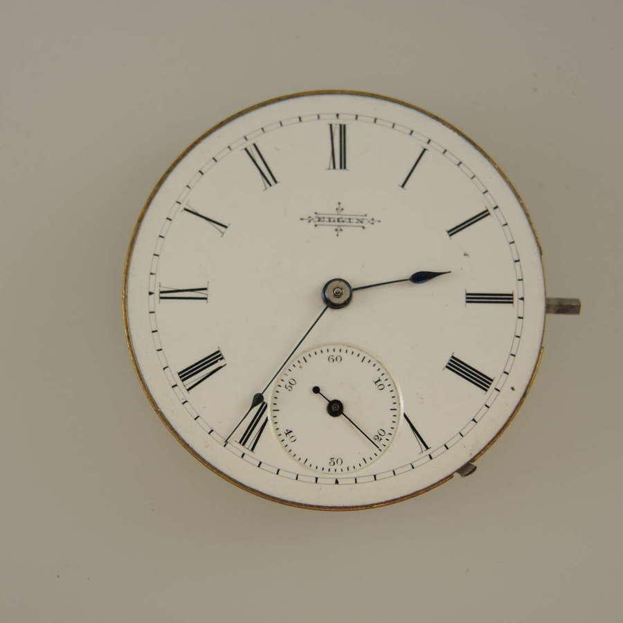 6s 7J Elgin pocket watch movement c1888