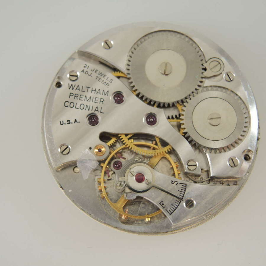 12s 21J Waltham Premier Colonial pocket watch movement c1940