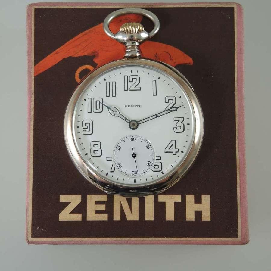 Silver 17J ZENITH Prima Grand Prix pocket watch c1925