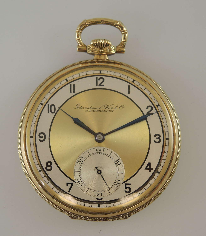 Pristine 14K Gold International Watch Co IWC pocket watch 1936