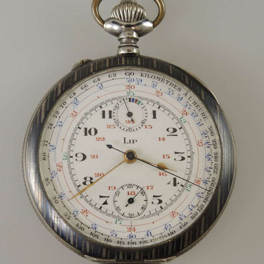 Silver and Niello enamel Chronograph pocket watch by Lip c1910