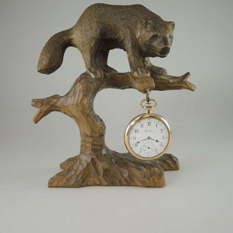 Black Forest bear pocket watch stand c1890