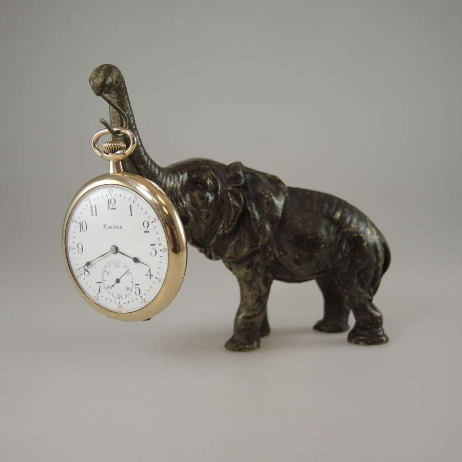 Bronze elephant pocket watch stand c1890