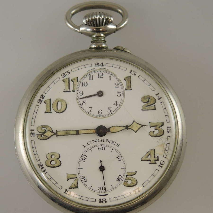 Alarm pocket watch by Longines c1910