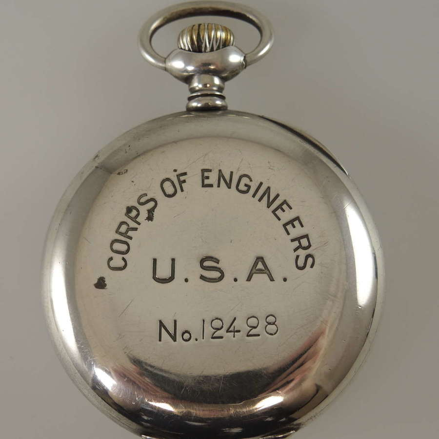 Silver cased military Zenith pocket watch. Engineer Corps USA c1940