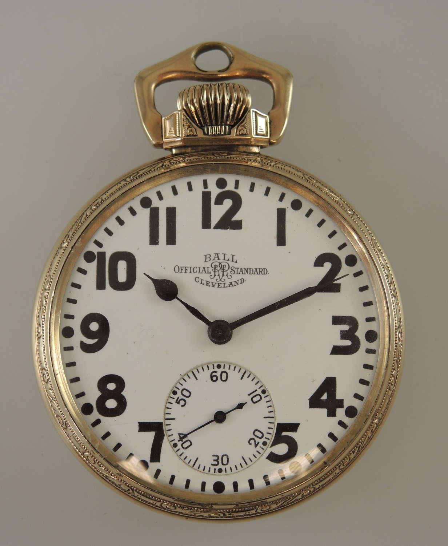 16s 21J Ball Hamilton 999P Official Railroad grade pocket watch c1928