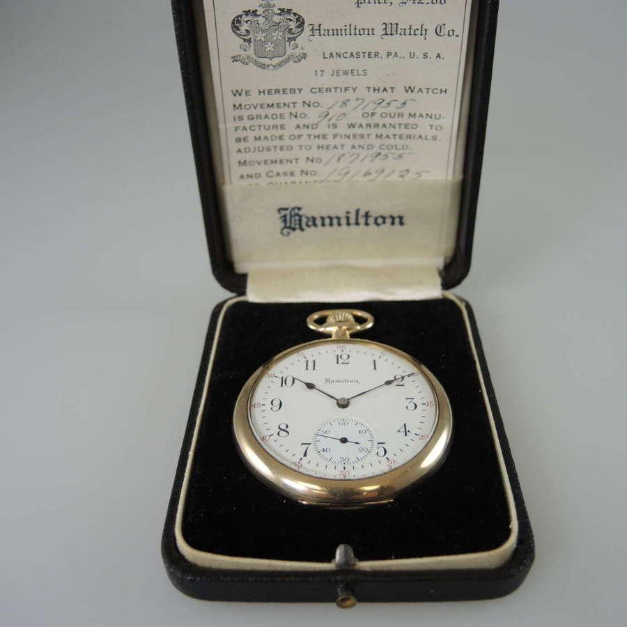 Vintage Hamilton pocket watch in its original box c1920