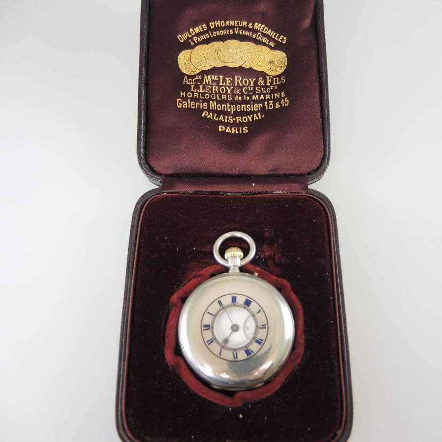 Silver half hunter pocket watch by LeRoy & Fils c1870