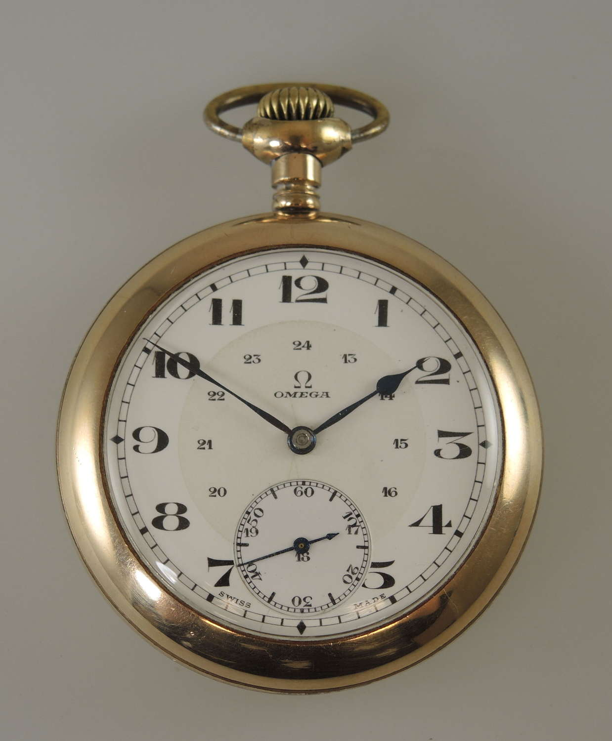 18s 17J Omega pocket watch made for the Canadian market c1918