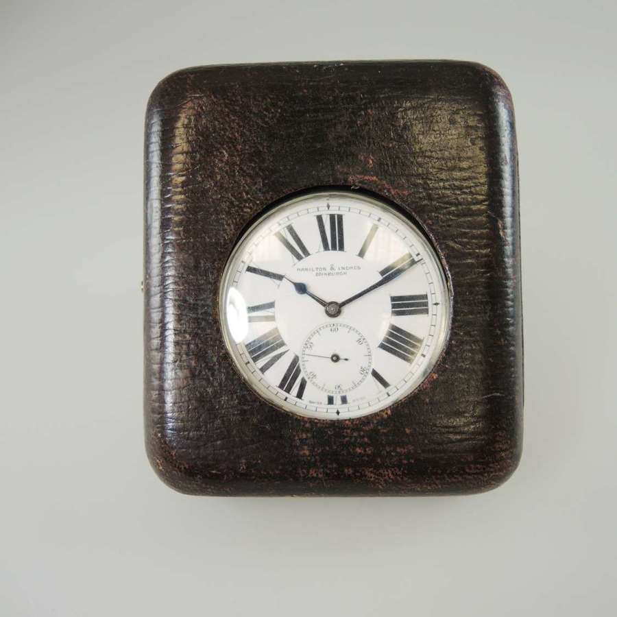 Pocket watch with original leather desk case. Hamilton & Inches, c1900