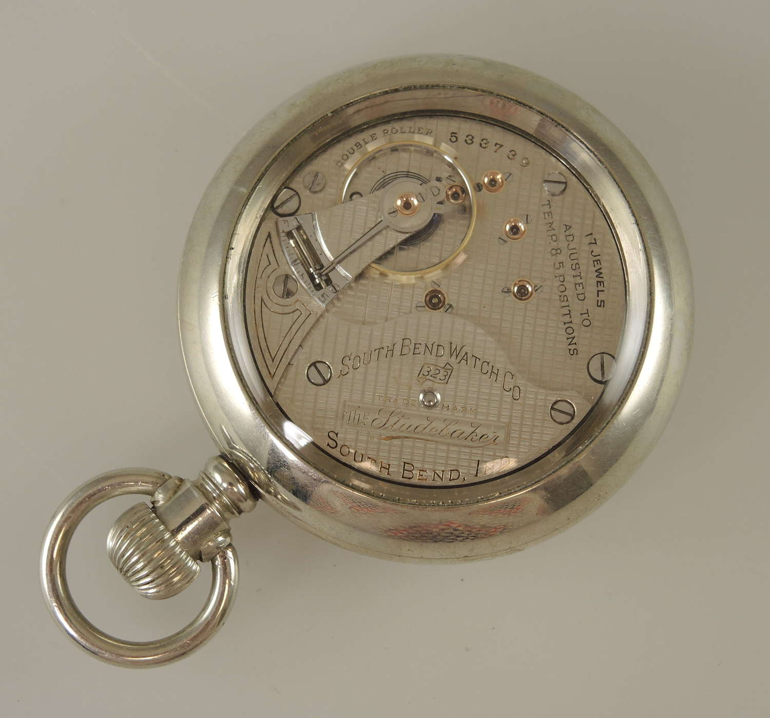 18s 17J South Bend The Studebaker 323 display cased pocket watch c1908