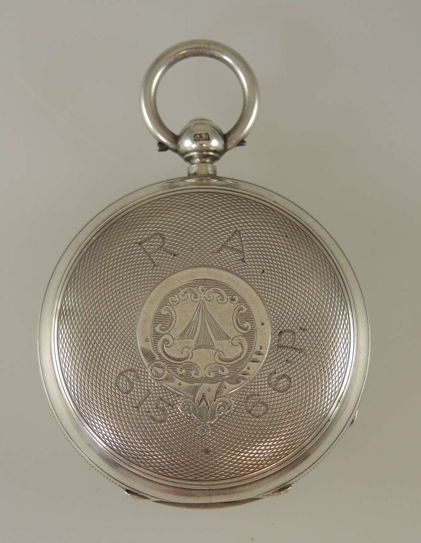 English silver Royal Artillery fusee pocket watch by Burdess c1893