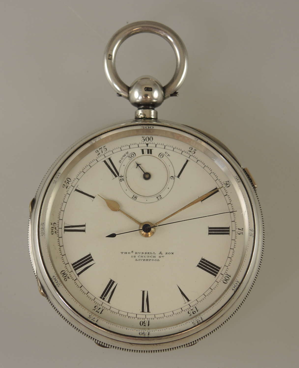 Large English silver fusee centre seconds with wind indicator c1906