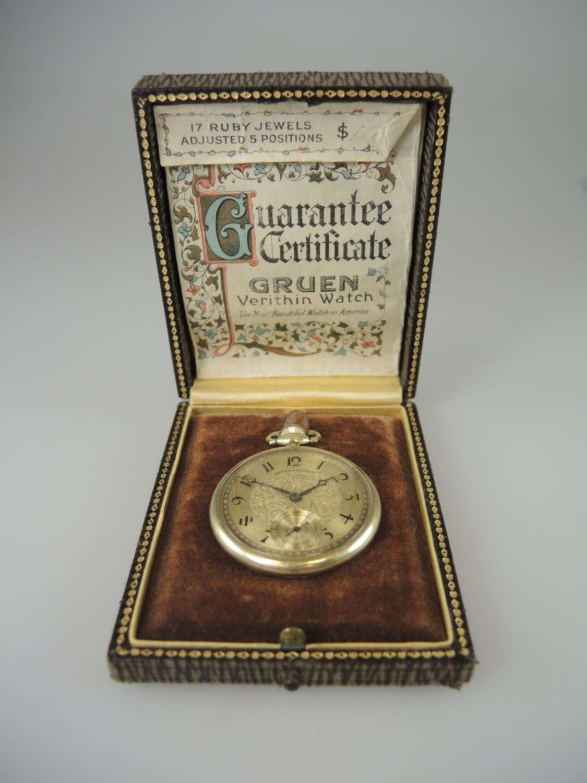 14K gold Gruen Verithin pocket watch with box c1920
