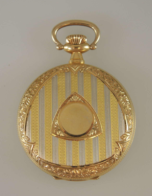 Solid 18K gold 3 colour hunter case pocket watch by Lohengrin c1910