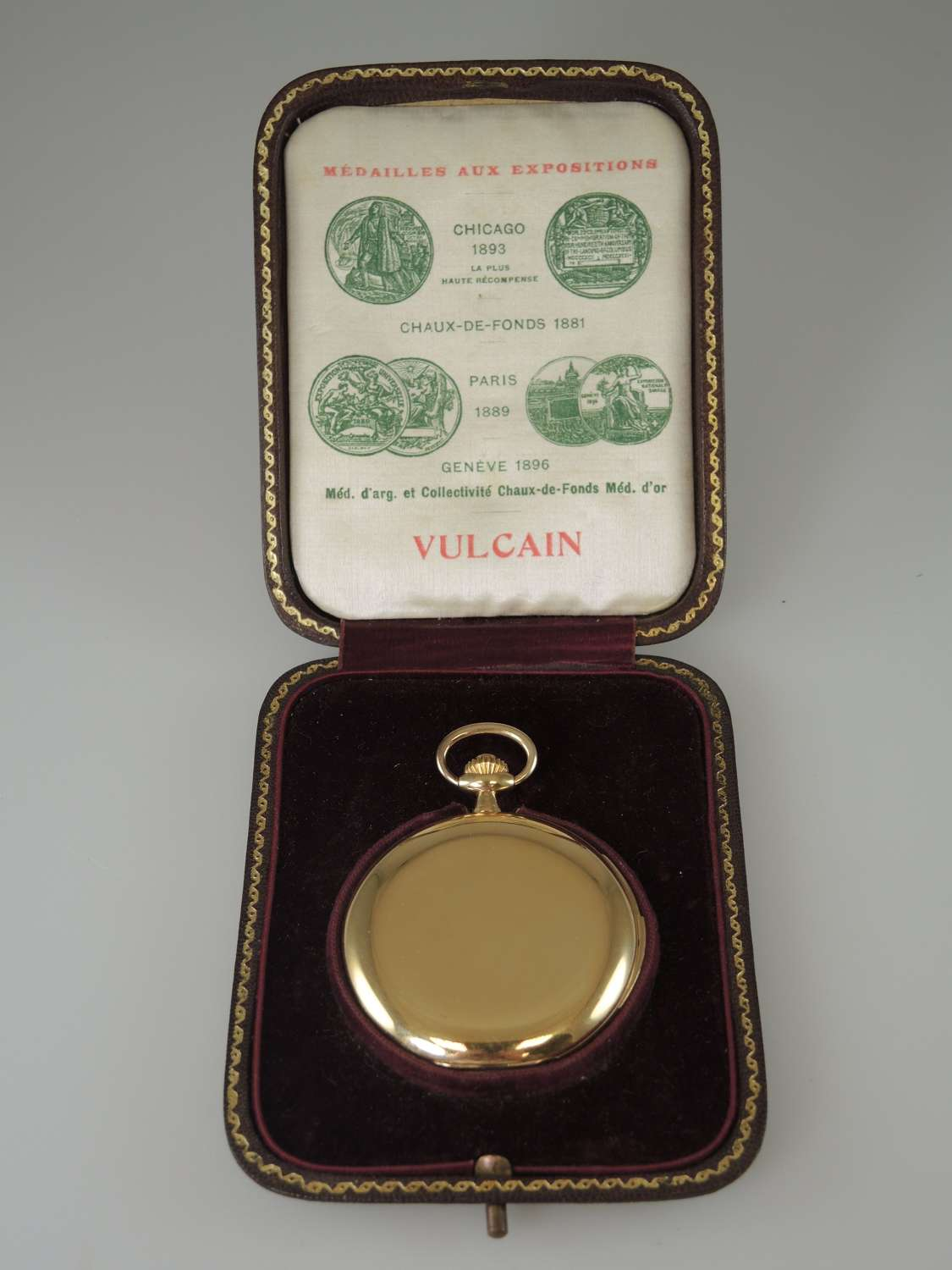 18K Gold Minute repeater hunter pocket watch by Vulcain with Box c1910