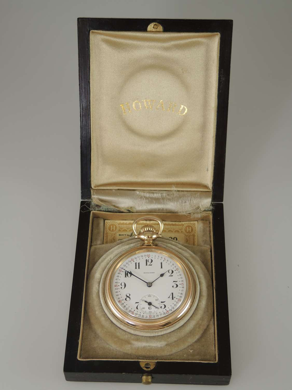 16s 21J E.Howard Watch Co Railroad Chronometer with original box c1916