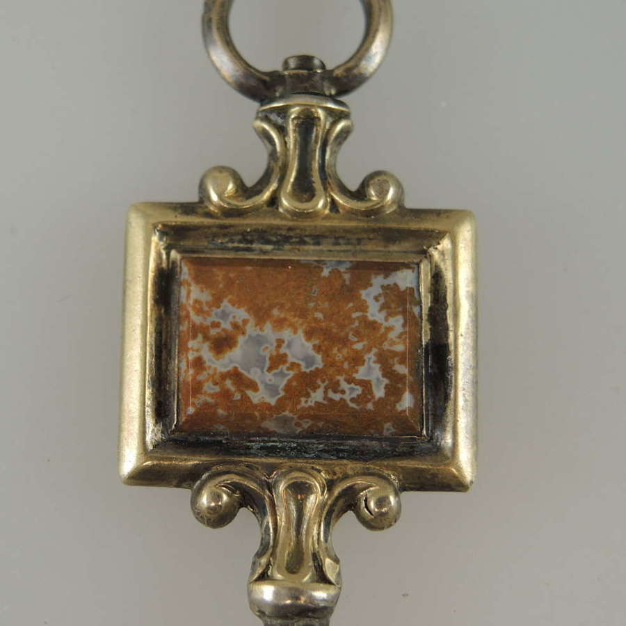 Fancy gilt and marble set pocket watch key c1835