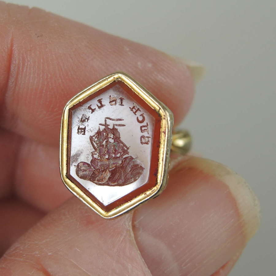 Gilt metal Georgian Seal with superb Such is Life intaglio c1820