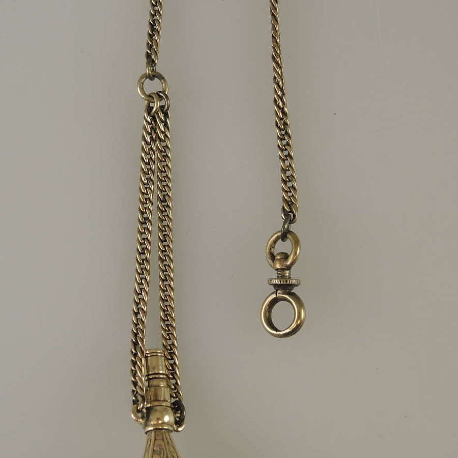 Georgian gold cased Seal and watch key combo with chain c1810
